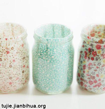 罐头瓶和旧布条制作日式烛台图解
